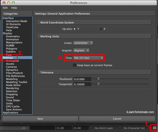 Autodesk Maya FPS settings