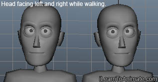 head facing left and right while walking