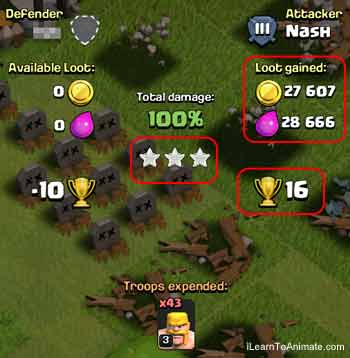 clash of clan 3 stars win