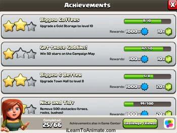 clash of clan achievements