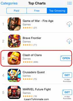clash of clan top grossing chart