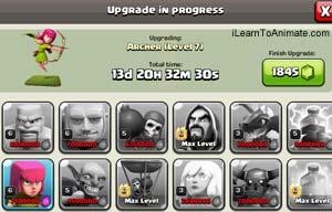 clash of clan units progress